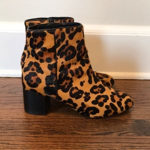 Urban Outfitters Leopard Haircalf Heeled Boots